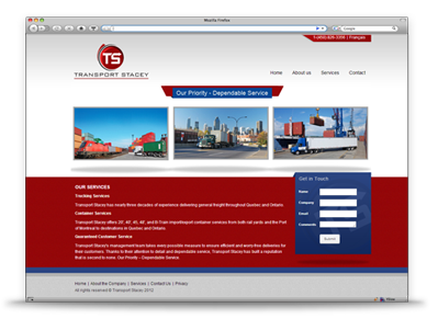 Transport Stacey Website Design